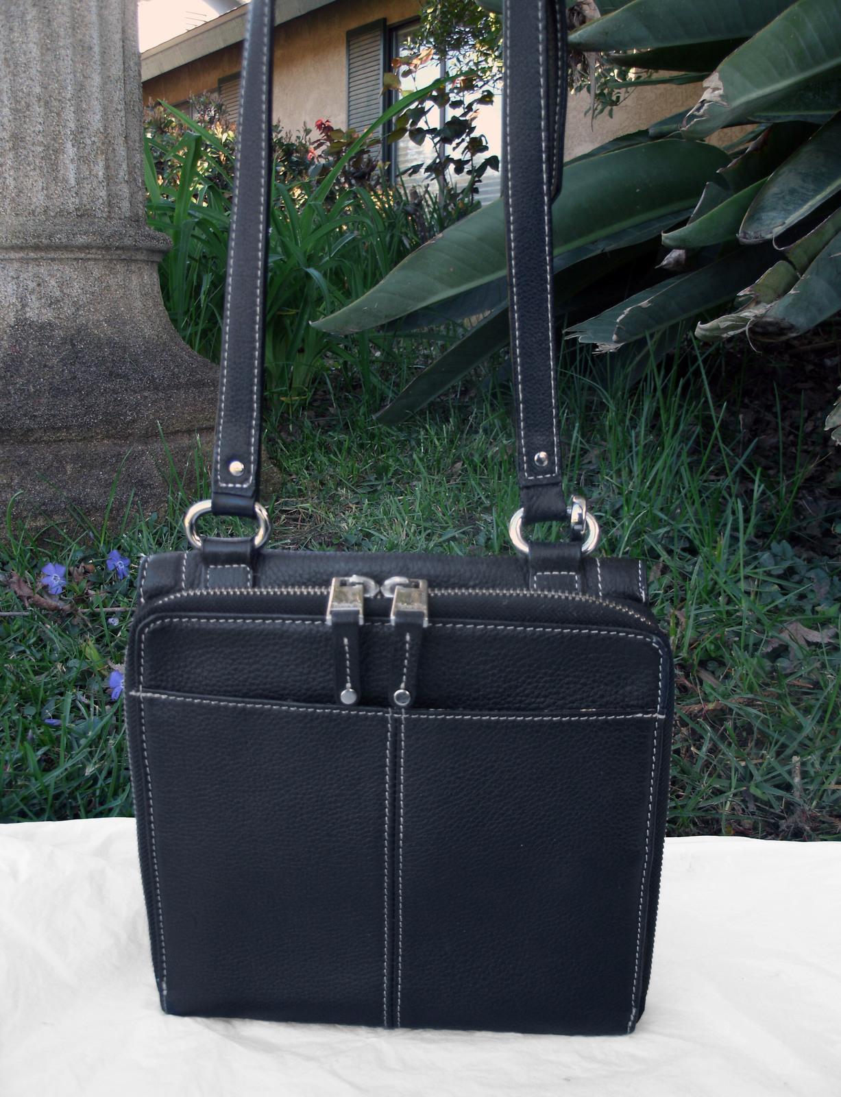 Tignanello Black Pebbled Leather Organizer Crossbody built in Wallet image 7