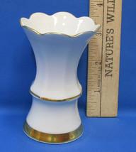 Vintage White Porcelain Miniature Bud Vase 24K Gold Western West Germany... - $21.77