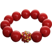 Red Iridescent Large Bead Fireball Stretch Brac... - $8.75