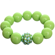Green Iridescent Large Bead Fireball Stretch Br... - $8.75