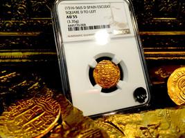 "SPAIN 1 ESCUDO 1516-1556 ""SQ D TO LEFT"" GOLD COB DOUBLOON NGC 55 TREASUR... - $1,495.00"