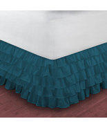 King size TEAL BLUE chiffon Multi-Layered Ruffled Bed Skirt in any drop ... - $79.99+