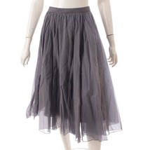 Foxey 2020 Sheer Circular Cotton Silk Gathered Flared Skirt 40950 Gray S... - $694.52