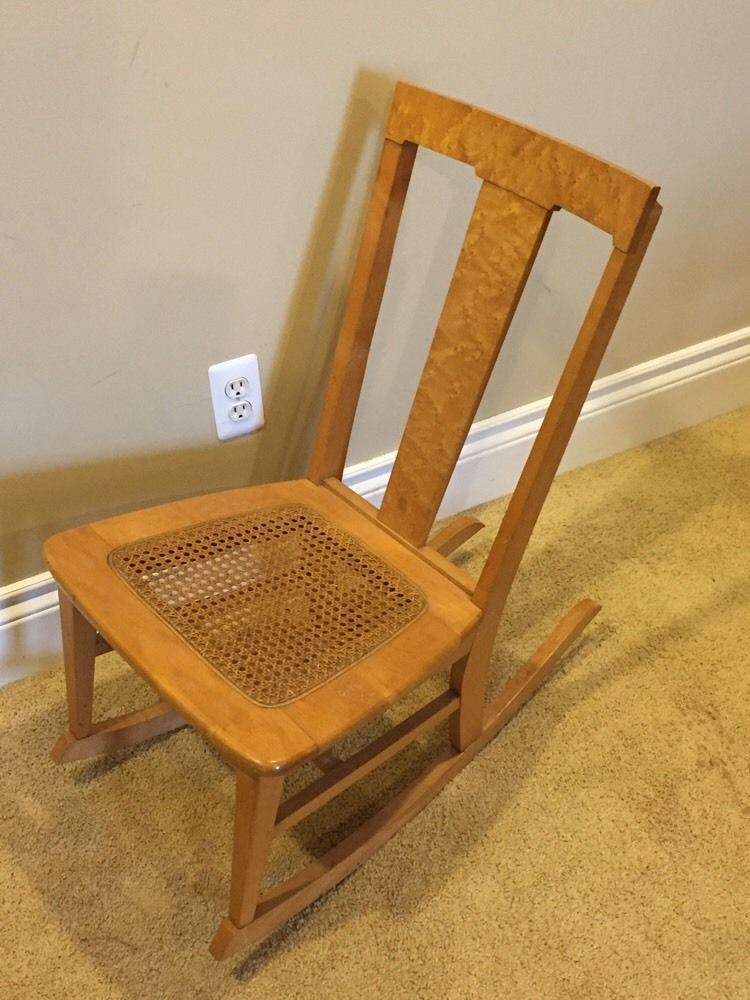 Vintage Childs Rocking Chair Birds Eye Maple Cane Bottom