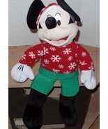 Disney Mickey Mouse Plush Christmas Shelf Sitter Snowflakes 24 Inches NEW - $19.98