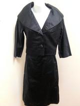 Vintage Bonwit Teller S M Skirt Suit Black Satin 2pc Cropped Jacket Penc... - $58.77