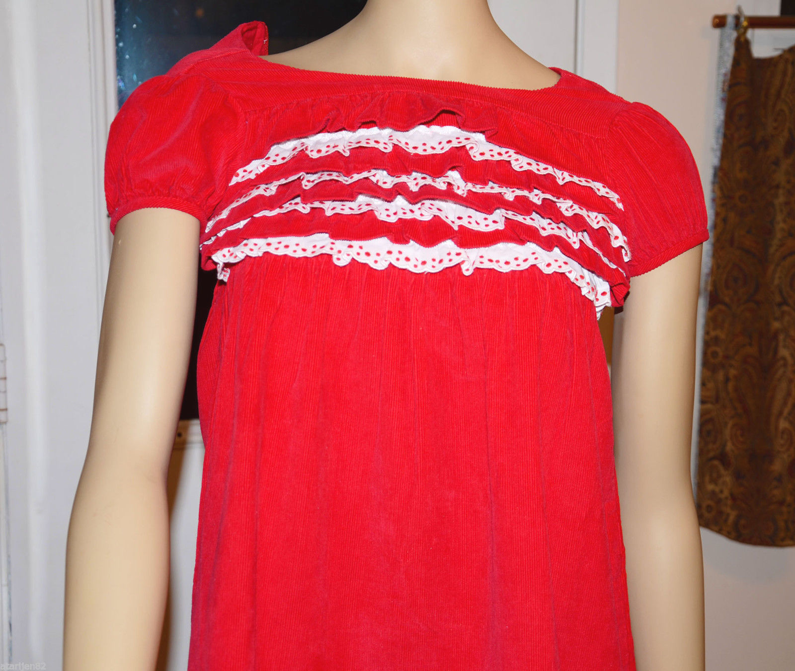 Primary image for girls Hanna Andersson Christmas XMas Holiday red dress 8 cap sleeve corduroy