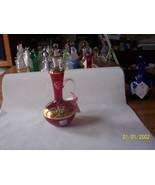 Cranberry Art Glass Hand Decorated Cruet - $44.55