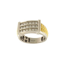 Men's Rolex style Two Tone Gold Ring with Diamonds - $1,100.00