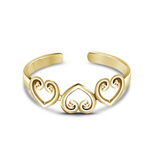 Women's Yellow Gold Plated 925 Sterling Silver Heart Shape Adjustable Toe Ring - £12.74 GBP