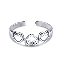 New Fashion Women's 925 Silver 14k White Gold Plated Heart Adjustable Toe Ring - £12.74 GBP