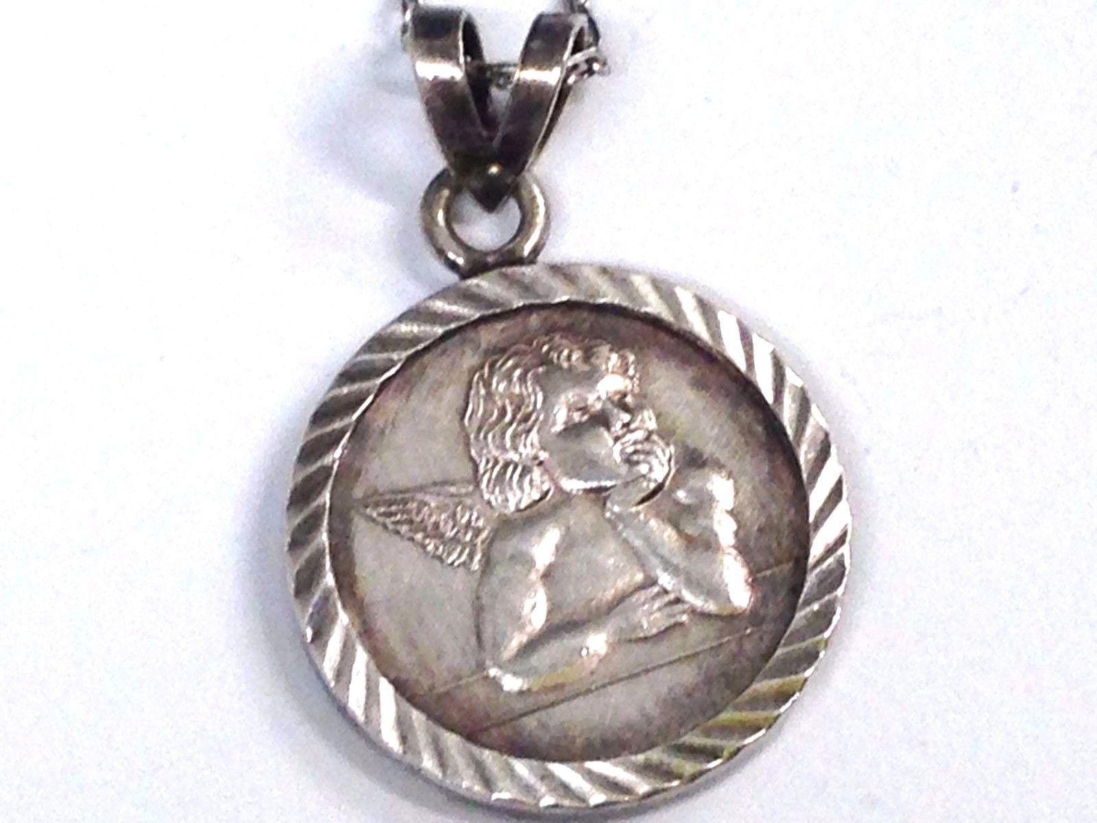 "Fine 999 Pure Silver Guardian Angel "" Coin""  Pendant Sterling 925 Chain Necklace"
