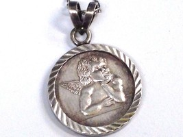 "Fine 999 Pure Silver Guardian Angel "" Coin""  Pendant Sterling 925 Chain Necklace image 1"