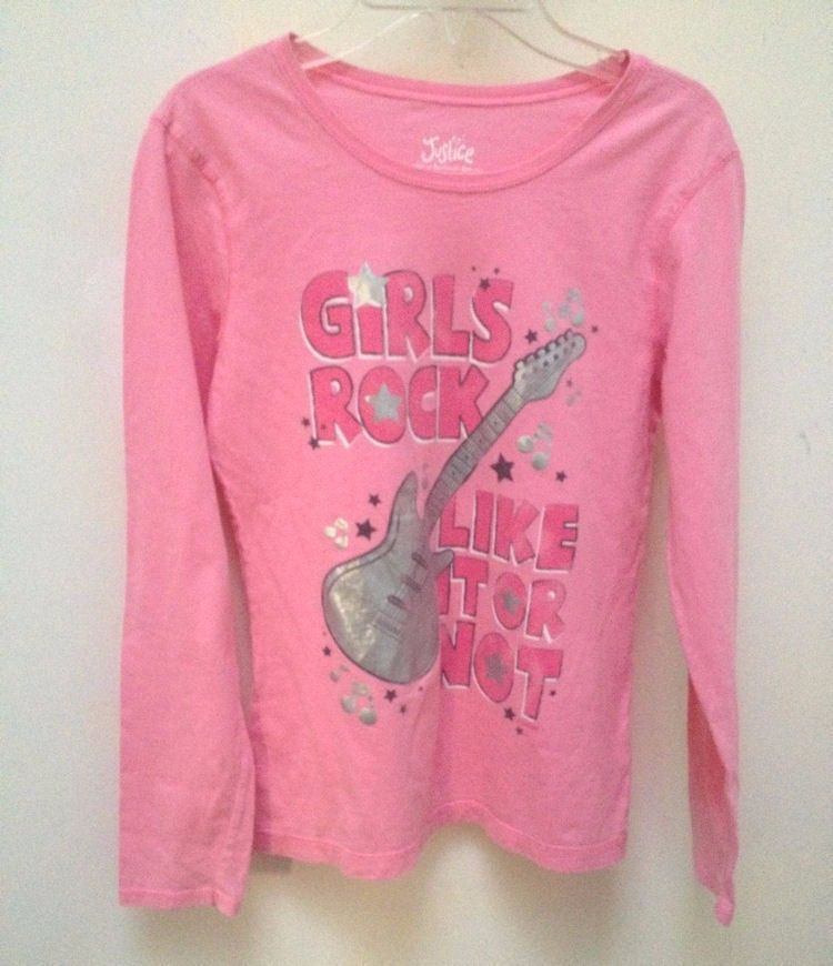 Primary image for Justice L 14 Top Pink Guitar Girls Rock Like It Or Not Long Slv Back to School
