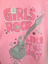 Justice L 14 Top Pink Guitar Girls Rock Like It Or Not Long Slv Back to School image 2