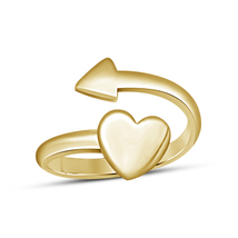 Heart Adjustable Toe Ring In 14k Yellow Gold Finish Solid 925 Sterling Silver - £12.74 GBP