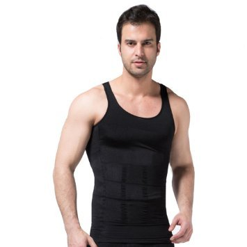 Mens Compression Girdle Shirt Black Small Vest Underwear Shapewear