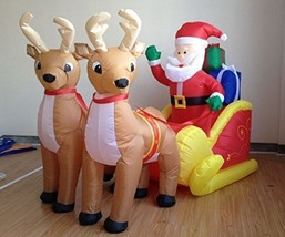 6 Foot Long Christmas Inflatable Santa On Sleigh With Reindeer Yard Deco... - $179.18