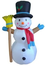 4 Foot Christmas Inflatable Snowman With Broom Yard Decoration - $117.80