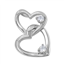Sterling Silver Beautiful Double CZ Heart pendant New Love d46 - $11.54