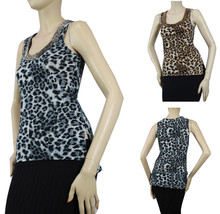 Sexy Animal Print w/Bead Necklace Tank Top Soft Stretchy Casual Dance Sh... - $19.99