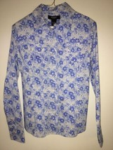 Floral Print Slim button front Shirt by EXPRESS blue/white size: 7/8 - $36.76