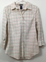 Ivory Plaid Button Down Shirt 3/4 sleeve by GAP medium - $33.07