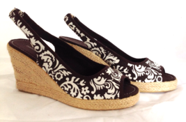 "Montego Bay Club ""Morgan"" Brown Print Open Toe Slingback Wedge Heel Ladi... - $24.00"