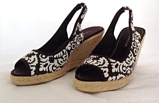 """Montego Bay Club """"Morgan"""" Brown Print Open Toe Slingback Wedge Heel Ladies Shoes"""