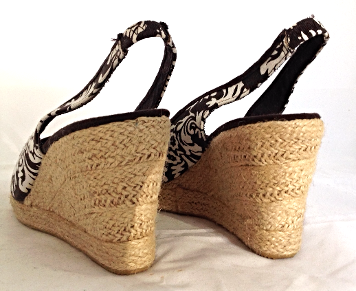 "Montego Bay Club ""Morgan"" Brown Print Open Toe Slingback Wedge Heel Ladies Shoes"