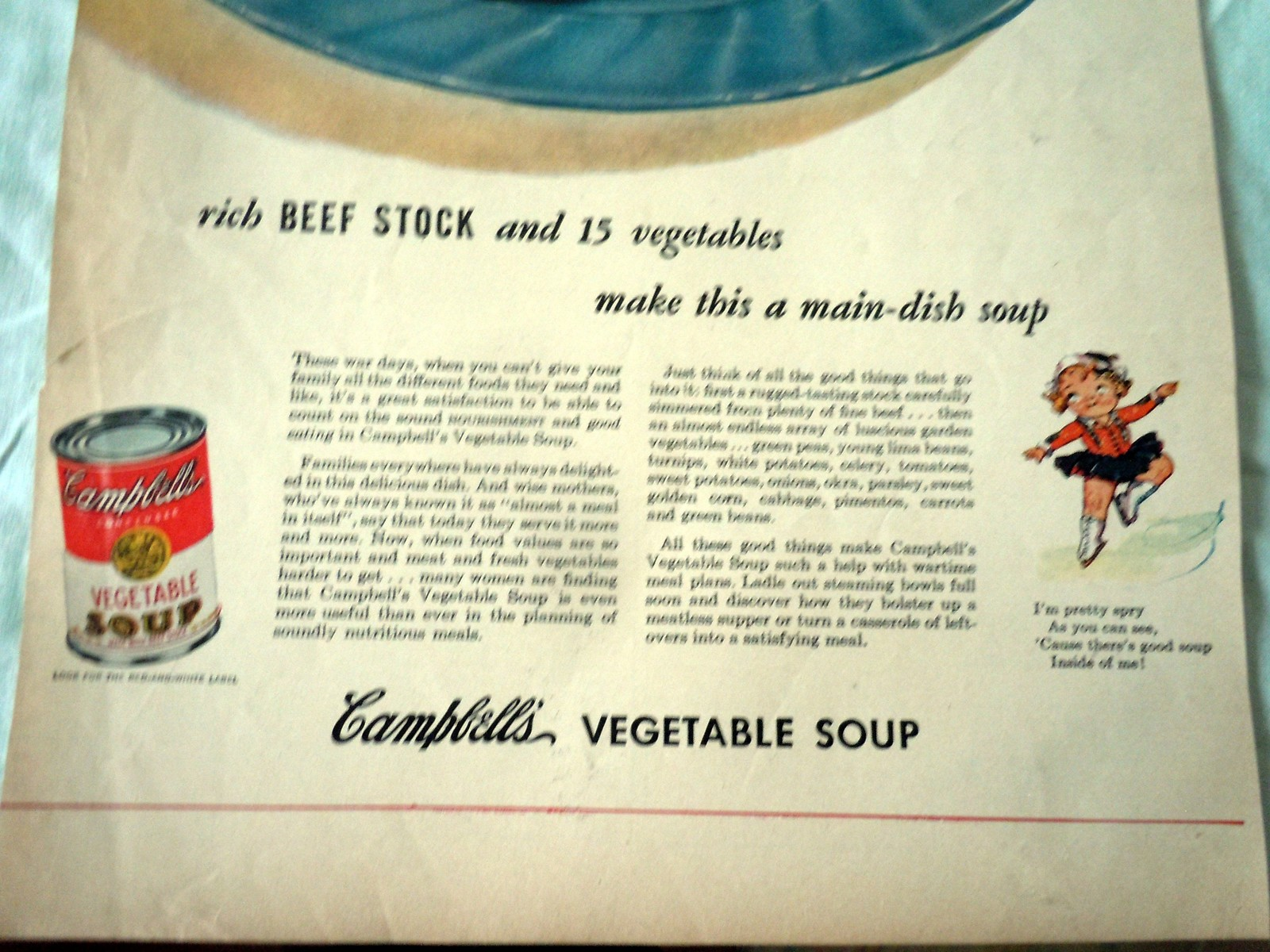 Campbell's Vegetable Soup Nourishing Advertising Print Ad Art 1940s image 3
