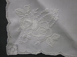 4 LINEN NAPKINS EMBROIDERED ROSES RAISED DOTS LACE OPEN WORK ANTIQUE or ... - $14.24