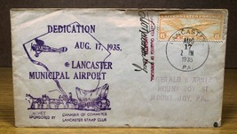 1935 Lancaster PA Municipal Airport Cover Cachet Historical Air Mail Sta... - $10.00