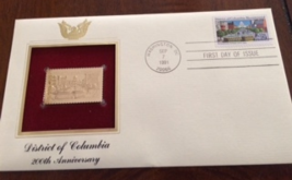 District of Columbia 200th Anniversary First Day Gold Stamp Issue Sep. 7... - $4.50
