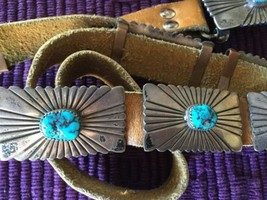 Vintage NAVAJO Heavy Sterling Silver MORENCI Turquoise Concho BELT WB St... - $1,394.91