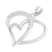 Sterling Silver Elegant CZ Heart pendant Love New d49 - $14.40