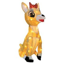 Christmas Pre-Lit Rudolph the Red Nosed Reindeer Clarice Yard Decoration... - $71.69