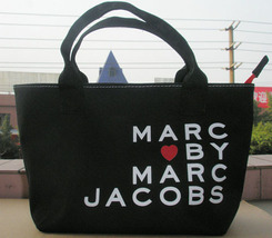 Marc by Marc Jacobs Small Tote Lunch Bag All-Purpose Black Canvas  - $24.99