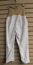 NEW WOMENS MATERNITY SIZE L LARGE 12 14 MOTHERHOOD WHITE CROP JEANS PANTS - $9.74
