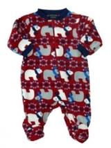 Baby Boys Faded Glory Red Fleece Polar Bear Footed Sleeper - $10.00
