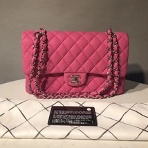 AUTHENTIC CHANEL PINK QUILTED CAVIAR MEDIUM CLASSIC DOUBLE FLAP BAG SHW - $3,499.99