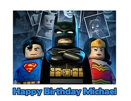 Lego Batman Superman Wonder Woman Image Photo Cake Topper Sheet Personal... - $8.50