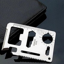 New Mini Stainless Steel Multi-function Survival Wallet Tool (Silver)