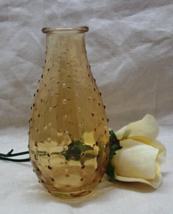 Vintage AMBER GLASS Hobnail Pattern Vase // Home Decor // Decorative Gla... - $6.00