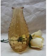 Vintage AMBER GLASS Hobnail Pattern Vase // Home Decor // Decorative Gla... - $6.00