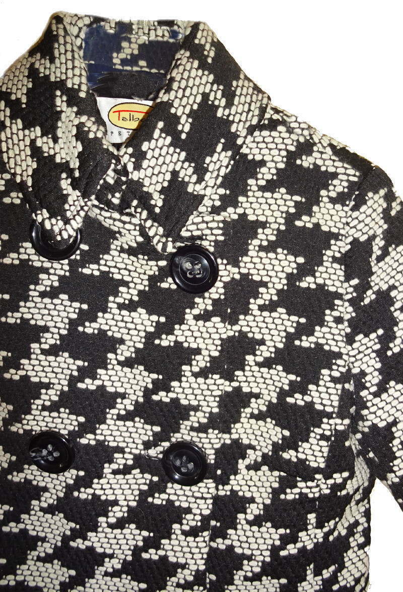 Talbots Exploded Houndstooth Wool Blazer Petite 10 Large Black White Wool Blend
