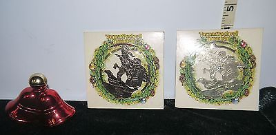 Lot of 3 Christmas Decor Avon Bells Decanter & 2 Norman Rockwell Metal Ornaments