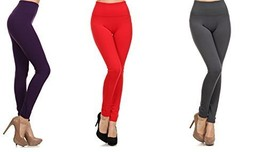 ICONOFLASH Women's Heavy Weight High Waist Fleece Leggings, (3-Pack, Dat... - $22.76