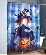 Halloween Witch Pumpkin Bathroom Shower Curtain Bath Home Decoration - $33.60