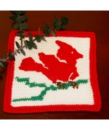 Red Cardinal Folk Art Tile - Handmade Crochet Tapestry by RSS Designs In... - $17.50